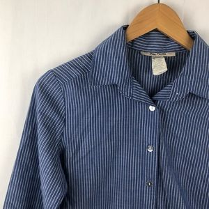 Free People Blue and White Pinstripe Button Down